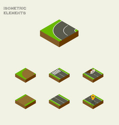 Isometric way set of flat turning strip and vector