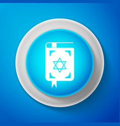 jewish torah book icon isolated on blue background vector image