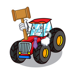 Judge tractor mascot cartoon style vector