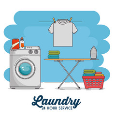 laundry room with washing machine and clothes vector image