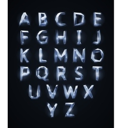 low poly cristal alphabet font vector image