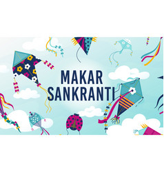 makar sankranti holiday background with flying vector image