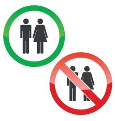 Man woman permission signs set vector image