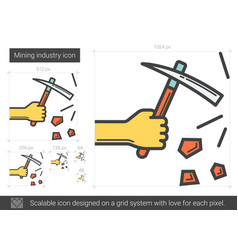 Mining industry line icon vector