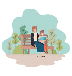 mother and son sitting in park chair avatar vector image