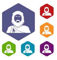Neanderthal icons hexahedron vector