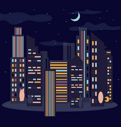 night cityscape skyline with moon vector image vector image