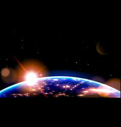 night side earth from space on sunrise vector image