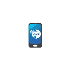 ninja head with angry face design in a smartphone vector image