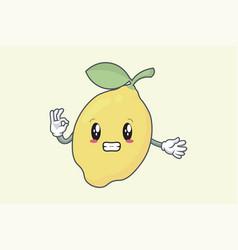 Okay okey ok hand gesture anxious face lemon vector