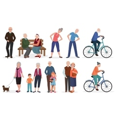 Old people in different activities situations vector