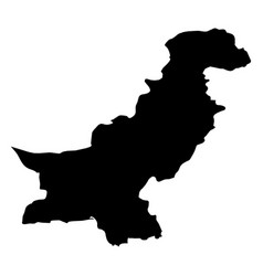 pakistan - solid black silhouette map of country vector image