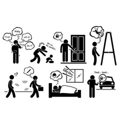 Paranoid paranoia people too worry stick figure vector