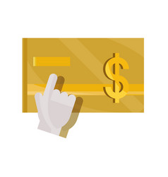 Payments online bank credit card hand clicking vector