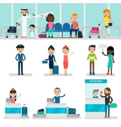 People In Airport Set vector