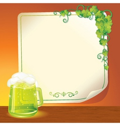 Poster with green ale vector