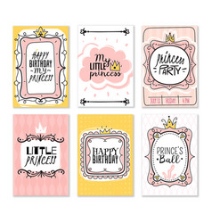 princess cards vintage cute pink frame with gold vector image