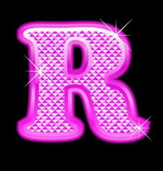 R letter pink bling girly vector