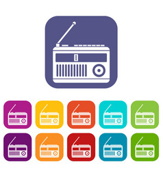 Retro radio icons set vector