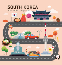Road map and journey route in south korea vector