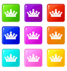 Royal crown icons 9 set vector
