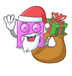 Santa with gift toy brick mascot cartoon vector