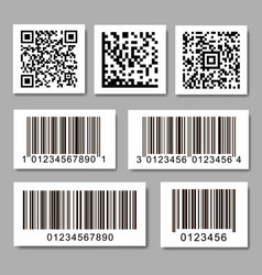 set barcode stickers qr code label collection vector image