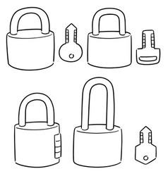 set lock and key vector image