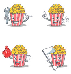 set of popcorn character with mechanic foam finger vector image