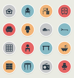 Set of simple furniture icons vector