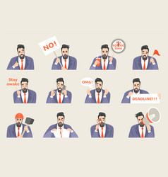set office life stickers with a funny cartoon man vector image
