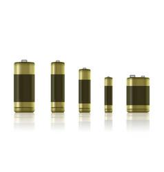 Set realistic alkaline batteries battery type vector