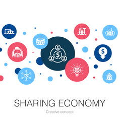 Sharing economy trendy circle template with simple vector