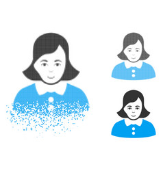 shredded dotted halftone woman icon with face vector image