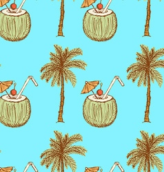 Sketch palm and coconut cocktail in vintage style vector image
