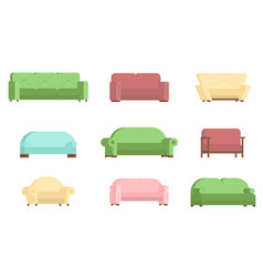 sofa icon set flat isolated vector image