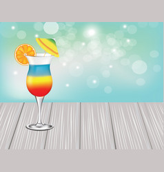 summer cocktail with umbrella on wooden planks vector image