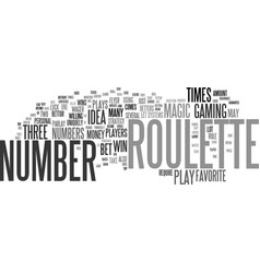 the magic roulette number text background word vector image