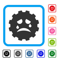 Tiers smiley gear framed icon vector