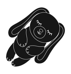 Toy rabbit icon in black style isolated on white vector image