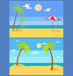tropical resort set palm trees vector image