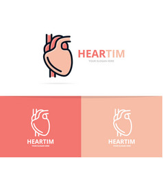 unique heart and cardiology logo design template vector image