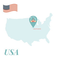 usa map with saint louis pin travel concept vector image