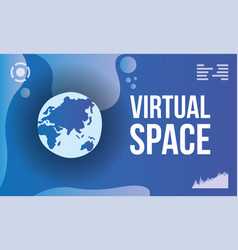 Virtual space scene with earth planet vector