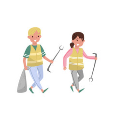 volunteers gathering garbage and plastic waste for vector image
