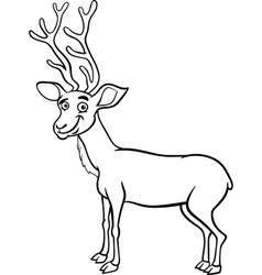 Wapiti deer cartoon coloring page vector
