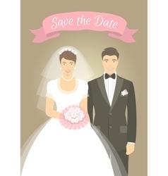 wedding photo portrait bride and groom vector image