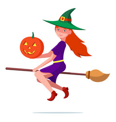witch on a broomstick with a halloween pumpkin vector image