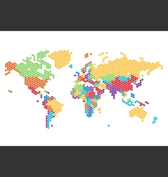 worldmap dotted country hexagon rainbow big vector image