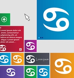 zodiac Cancer icon sign buttons Modern interface vector image